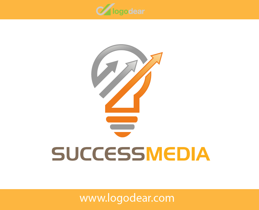 Success Media Company Modern Bulb Graph Vector Logo Design