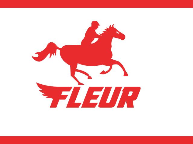 Running horse with man logo