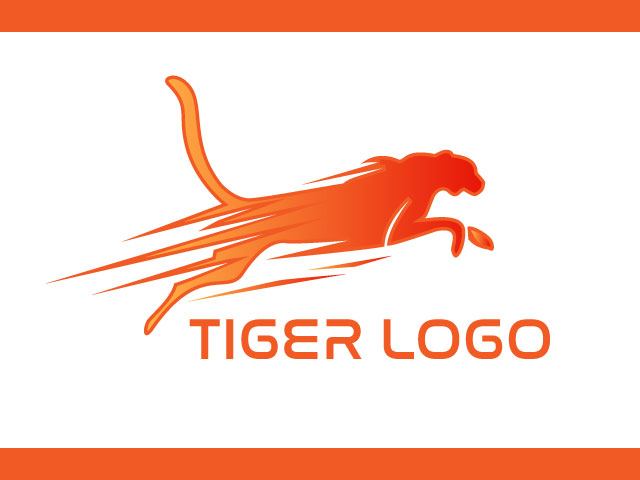 High Jumping Tiger Logo Design Vector