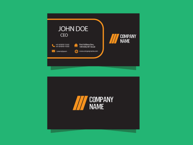 Black Color Visiting Card Free Download